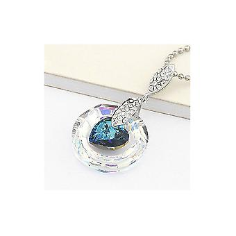 Circle Pendant and ornate heart of Crystal from Swarovski Elements white and blue