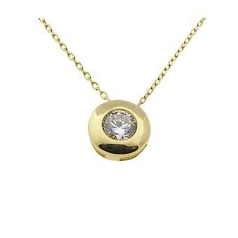 Golden Solitaire cubic zirconia pendant