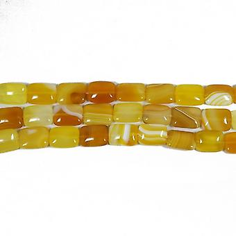 Strand 15+ Yellow/White Banded Agate 15 x 20mm Puffy Rectangle Beads CB52411