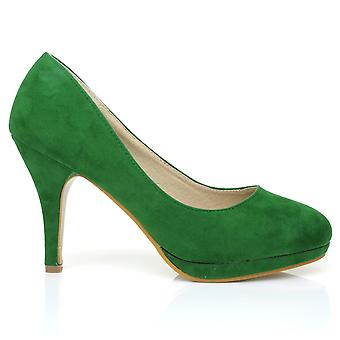 CHIP Green Faux Suede Pumps Mid-High Heel Low Platform Office Court Shoes
