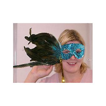 Feathered Mask Blue Sequin With A Plume Of Blue And Green Feathers