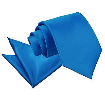 Electric Blue Plain Satin Krawatte & Einstecktuch Satz