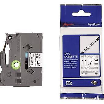 Heatshrink label Brother HSe-231 Tape colour: White Font colour: Black 11.7 mm 1.5 m