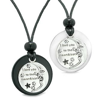 Jeg elsker dig til månen og tilbage par bedste venner Amulet agat hvid simulerede Cat Eye halskæder