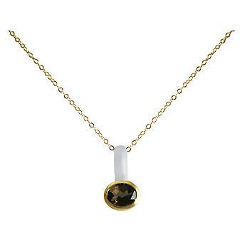 Gemshine - ladies - necklace - pendant - 925 Silver - gold plated - smoky quartz - Brown