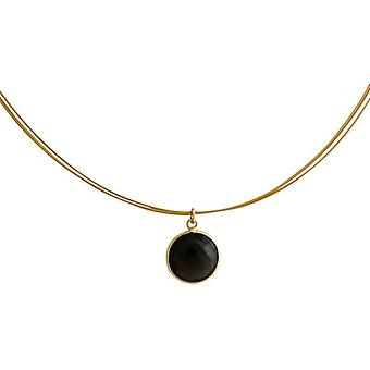 Smoky quartz gemstone necklace smoky quartz necklace gold plated jewelry wire chain