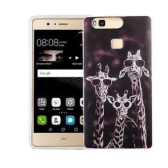 Mobile Shell for Huawei P9 Lite cover case protective bag motif slim TPU + armor protection glass 9 H 3 giraffes
