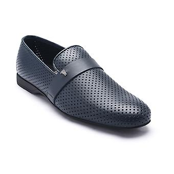 Versace Collection Men's Laser Cut Leather Medusa Loafers Navy
