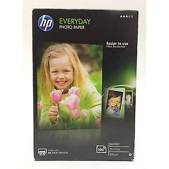HP 100 x 150 mm Everyday Glossy Photo Paper, White - Pack of 100)