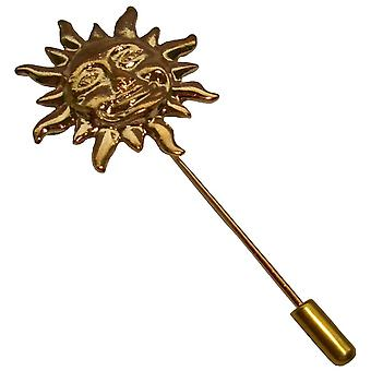 Bassin and Brown Sun Lapel Pin - Gold