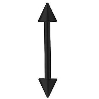 Piercing barra Barbell titanio negro 1,6 mm con picos, joyería del cuerpo | 6 - 40 mm