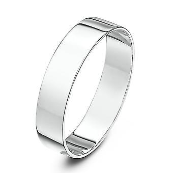 Star anneaux de mariage 9ct or blanc lumineux forme plate 5mm bague de mariage