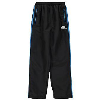 Lonsdale Kids Boys Two Stripe Open Hem Woven Pants Junior Tracksuit Bottoms