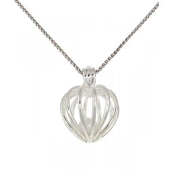 Colgante con Perla de agua dulce en Cavendish francés plata corazón jaula. Viene en una cadena de plata de 16-18