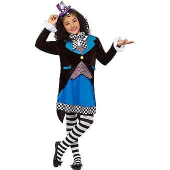 小さなミス マッドハッター衣装、ドレス、女の子デザインの凝った服、中年齢 7-9