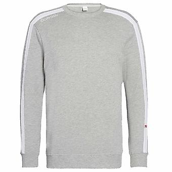 Calvin Klein manga longa moletom, Heather Grey, pequeno