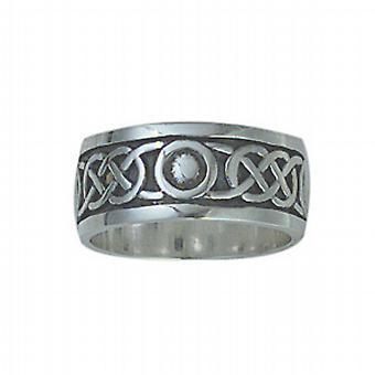 Silver oxidized 8mm Celtic Wedding Ring Size L