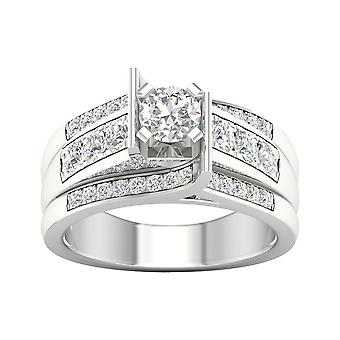 IGI Certified 14k White Gold 1.25 Ct Diamond Classic Engagement Ring Set