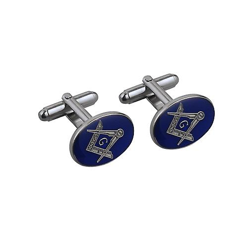 Rhodium Plated 19x13mm oval cold cure enamel Masonic with 'G' swivel Cufflinks