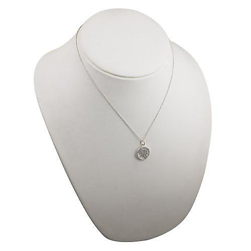 Silver 11mm pierced Gemini Zodiac Pendant with a rolo Chain 18 inches