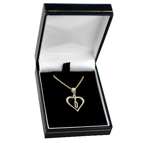 9ct Gold 18x18mm initial U in a heart with Cable link chain
