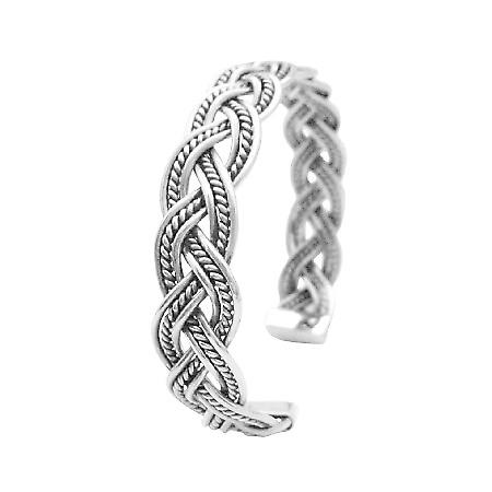 Solid sølv vridd ledningen mansjett armbånd gave til menn eller kvinner