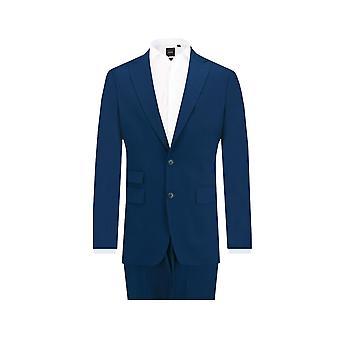 Dobell Mens leuchtend blau 2 Stück Anzug zugeschnittene Anpassung Peak Revers