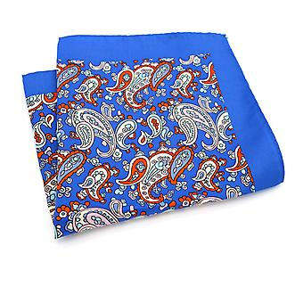 Light blue & orange paisley large 33cm pocket square