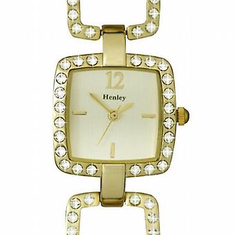 Henley Glamour Ladies Square Open Link Gold Tone Watch