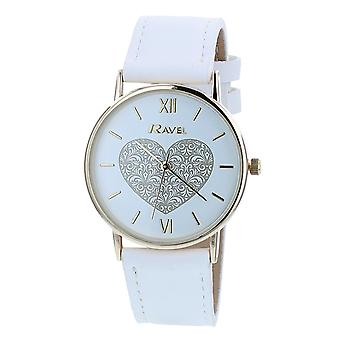Ravel Ladies - Womens White Dial & White PU Buckle Strap Watch R0136.04.2