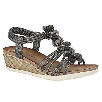 Ladies Womens Sandals 3 Flower Halter Back Mid Heel Wedge Shoes
