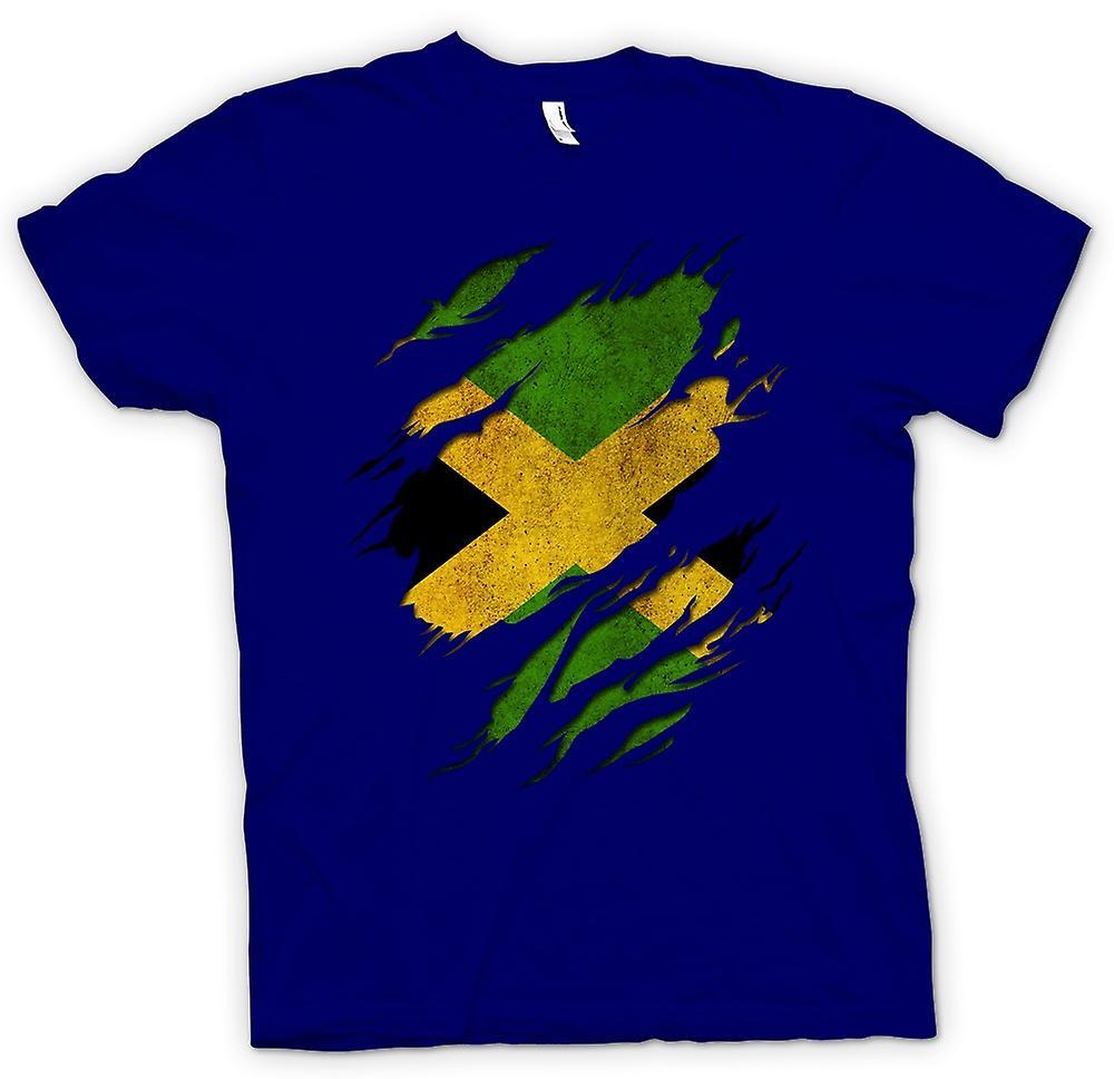 Heren T-shirt - Jamaica vlag Grunge geript Effect