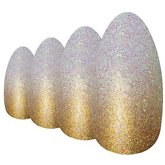 False nails by bling art gold gel ombre almond stiletto 24 fake acrylic tips
