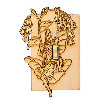 Fairy single switch plate 3.9x5.8 laser engraved wood