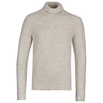 Farah Batten Ecru Roll Neck Knitted Sweatshirt