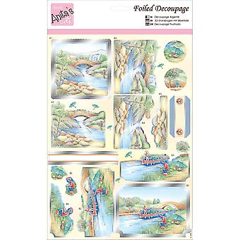Anita's A4 Foiled Decoupage Sheet-River Barge A169624