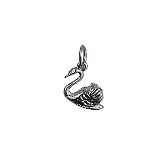 Silver 9x12 Swimming Swan Pendant or Charm