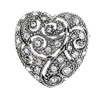 Brooches Store Silver and Clear Crystal Filigree Love Heart Brooch