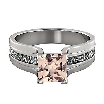 14K White Gold 3.20 CTW natural peach/pink VS Morganite Ring with Diamonds Bridge Vintage Promise