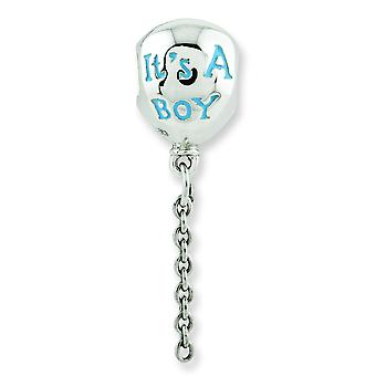 Sterling Silver Polished Antique finish Reflections Enameled Its a Boy Balloon Bead Charm