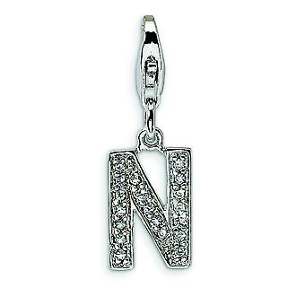 Sterling Silver CZ Letter N With Lobster Clasp Charm - Measures 24x8mm
