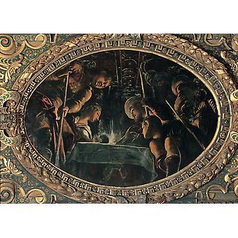 Robusti Jacopo bekend als Tintoretto de Pascha 1577 16e eeuwse Fresco Italië Veneto Venetië Scuola Grande Di San Rocco bovenste Hall Everett CollectionMondadori Portfolio Poster afdrukken