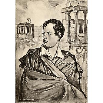 George Gordon Lord Byron 1788-1824 English Romantic Poet From An Illustration By AS Hartrick PosterPrint