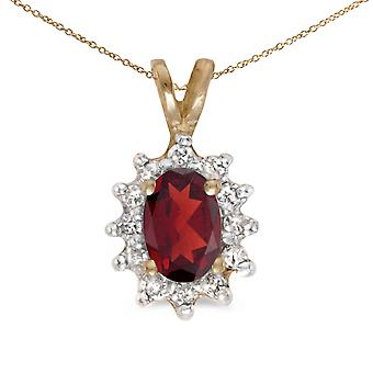 10k Yellow Gold Oval Garnet And Diamond Pendant with 18