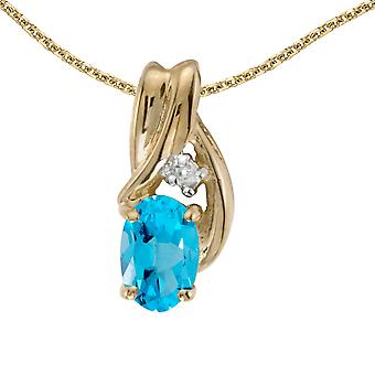 14k Yellow Gold Oval Blue Topaz And Diamond Pendant with 18