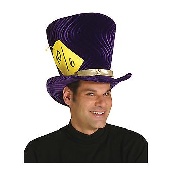 Mad Hatter Alice In Wonderland Tea Party Deluxe Purple Men Costume Top Hat