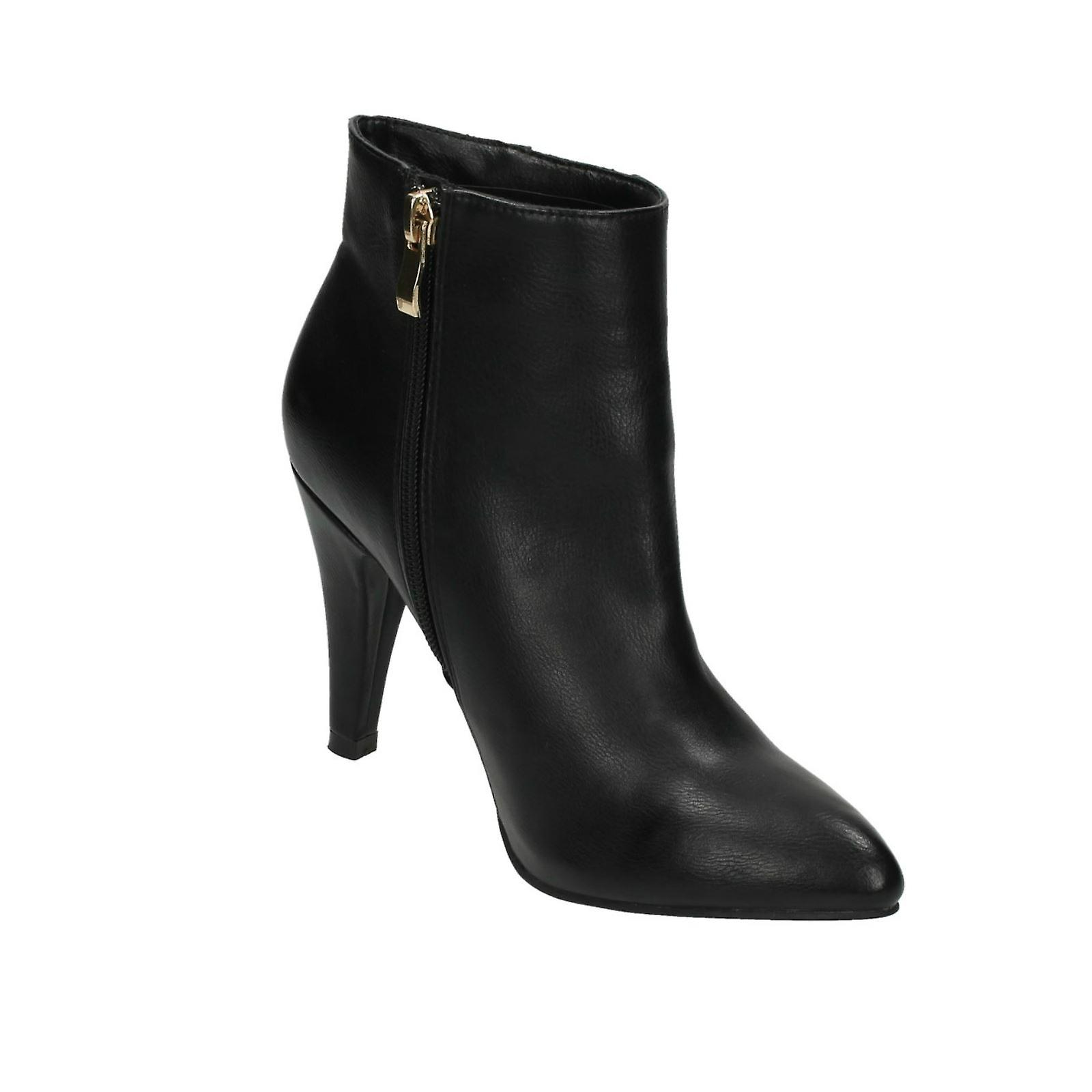 Clothes, Shoes & Accessories Ladies Spot On High Heel Ankle Boots 'F50332' Women's Shoes
