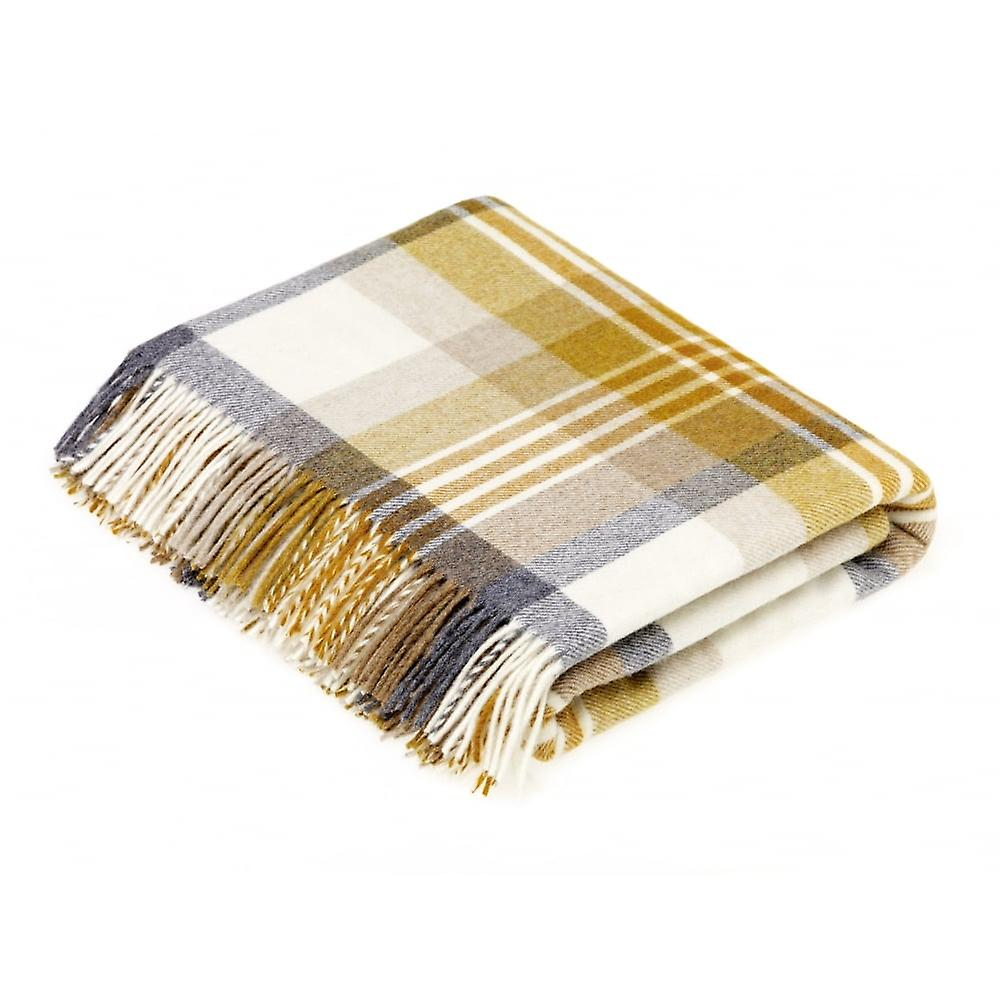 Bronte By Moon Luxury Merino Lambswool Melbourne Throw - Gold/Grey