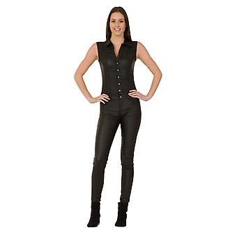 Black Leather look Sleeveless Buttonfront Jumpsuit Slimfit All-in-one stretch