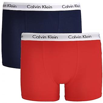 Calvin Klein Boys 2 Pack Modern Cotton Boxer Trunk, Mars Red / Blue Shadow, X-Large